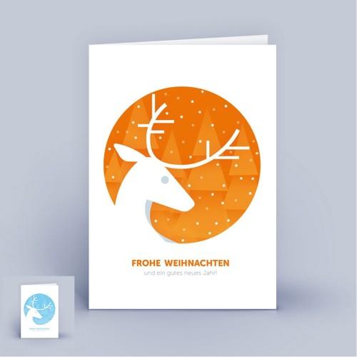 Eco Weihnachtskarten mit Hirsch, A6 hoch | eco-cards