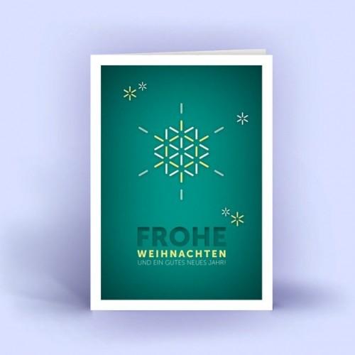 Weihnachtskarten Schneeflocke türkis 5er Set | eco cards