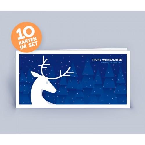 Weihnachtskarte blau mit Hirsch | eco-cards-shop