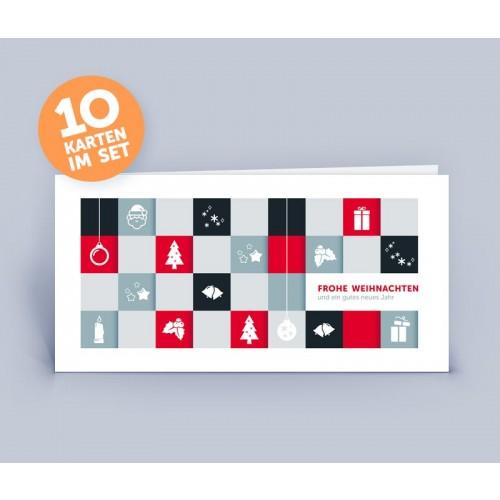 Weihnachtskarte rot in modernem Motiv   eco-cards-shop