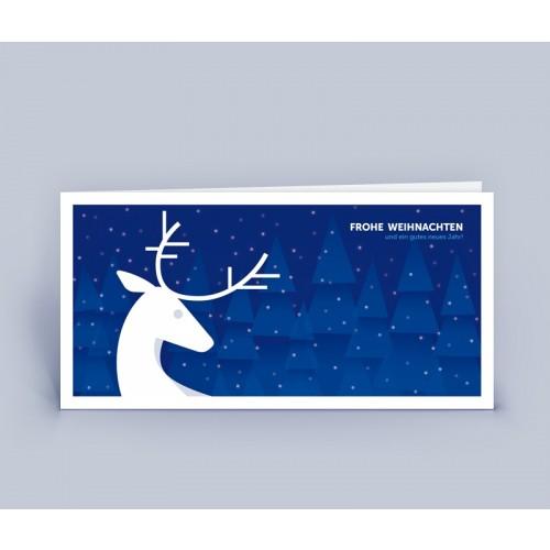 Öko Weihnachtskarte blau mit Hirsch   eco-cards-shop