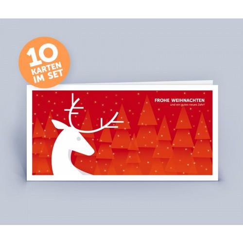 Öko Weihnachtskarte rot mit Hirsch | eco-cards-shop