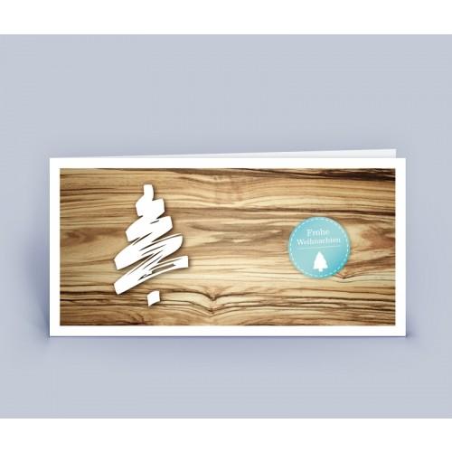 Öko Weihnachtskarte Holzoptik mit Weihnachtsbaum   eco-cards