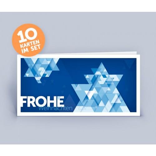 Weihnachtskarte blau mit originellem Stern | eco-cards-shop