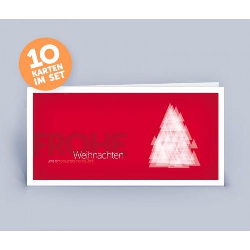 Weihnachtskarte rot mit modernen Weihnachtsbaum | eco-cards