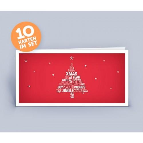 Weihnachtskarte rot Wortwollke Christbaum | eco-cards