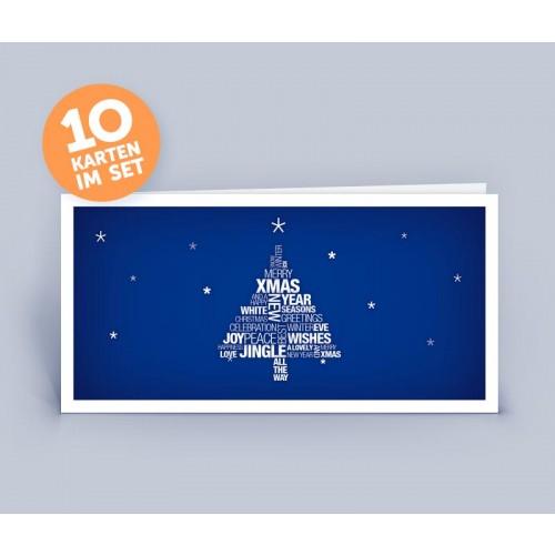 Weihnachtskarte blau Wortwollke Merry Xmas | eco-cards