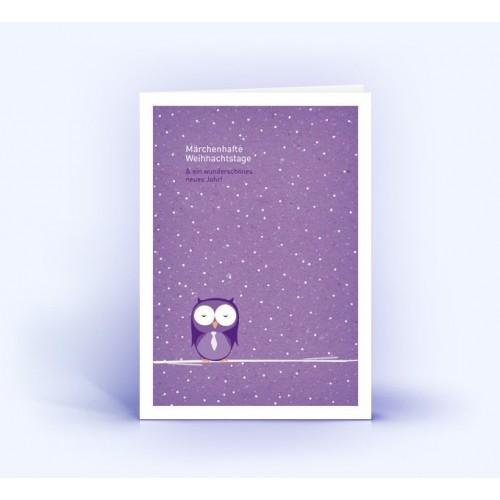 Eule im Schnee - Eco Weihnachtskarten, A6 hoch | eco-cards