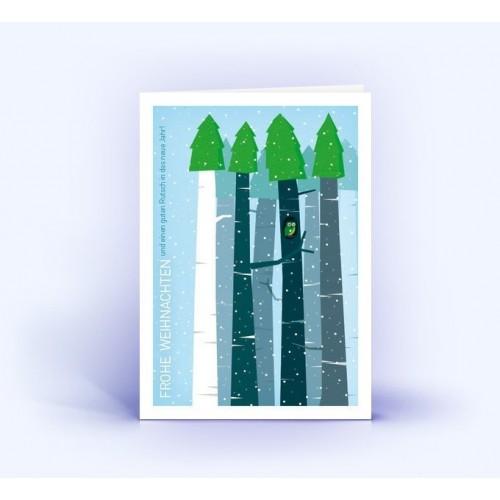 Weihnachtswald mit Eule - Eco Weihnachtskarten | eco-cards-shop