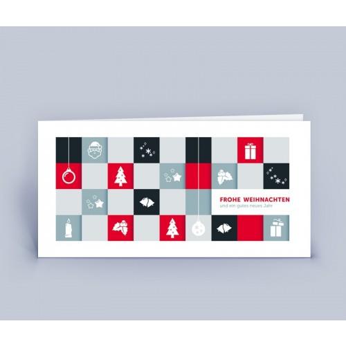 Öko Weihnachtskarte QUADRATE rot   eco-cards-shop
