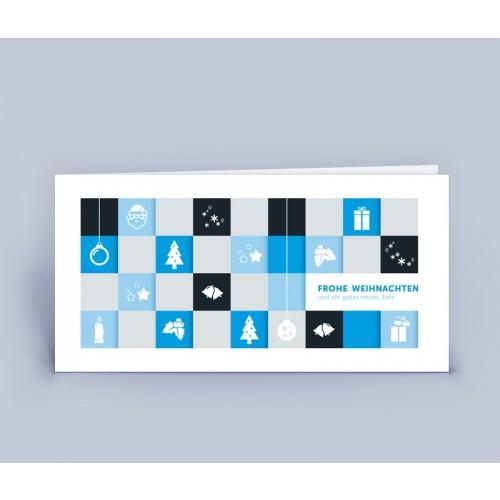 Weihnachtskarte blau mit modernem Motiv   eco-cards-shop