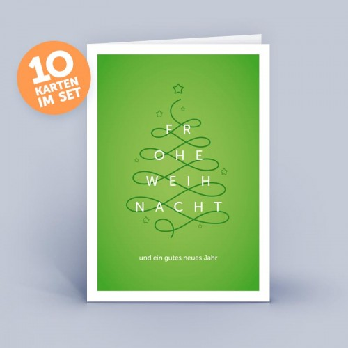 Grüne Weihnachtskarte Christbaum geschwungen | eco-cards