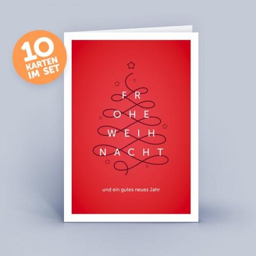 Öko Weihnachtskarte Christbaum abstrakt & edel | eco-cards