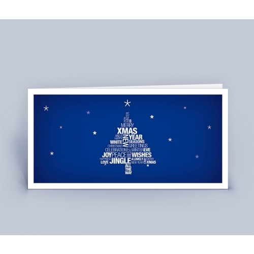 Weihnachtskarte blau Wortwollke Merry Xmas   eco-cards
