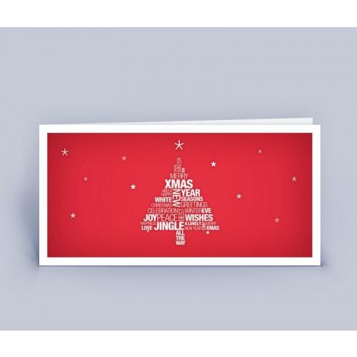 Weihnachtskarte rot Wortwollke Christbaum   eco-cards