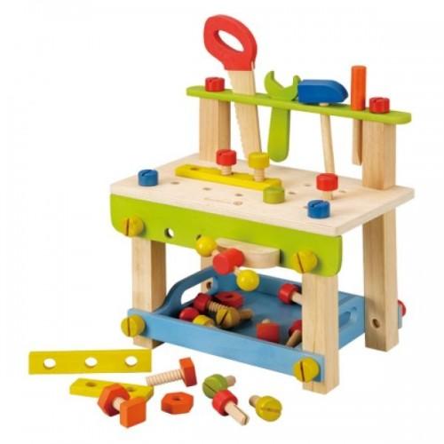 EverEarth Kinder Werkbank mit Zubehör - Öko Holzspielzeug