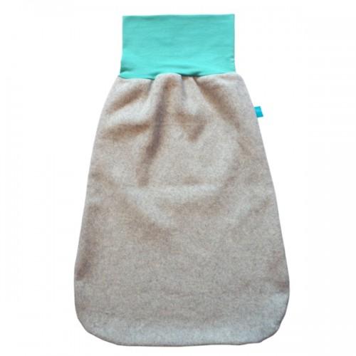 Winter Strampelsack Hellgrau/Mint - Bio-Baumwollfleece | bingabonga