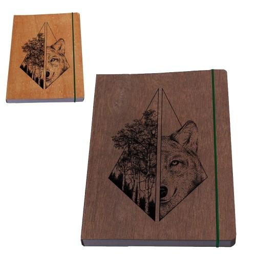 Öko Notizbuch für Männer »Wolf maskulin«, Holz-Umschlag | Waldkind