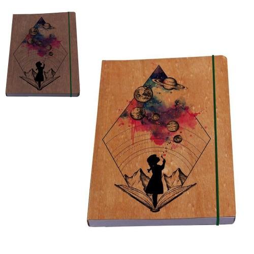 Öko Notizbuch Mädchen Galaxy mit Holz-Umschlag | Waldkind