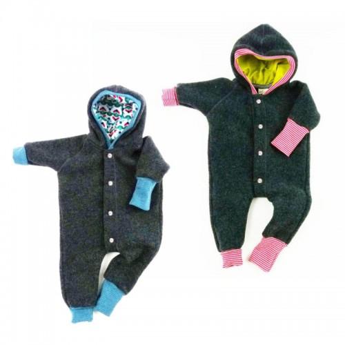 Bio Baby Wollfleece Overall mit Kapuze