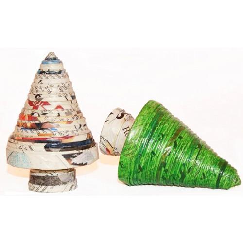 Weihnachtsbaum aus Recycling Papier – Grün