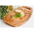 Olivenholz Steakbrett naturell, mit Grifflasche und Saftrille | Olivenholz erleben