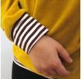bingabonga Bio Sweater mit Kapuze für Kinder, Gelb mit gestreiften Bündchen