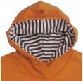 Oranges Kapu-Shirt für Kinder, braun-beige gestreifte Kapuze, Bio-Baumwolle