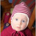 Ringel Baby Ohrenmütze Bio-Wolle & Baumwollplüsch | Reiff