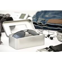 Brillenetui aus Weißblech mit Sichtfenster & Scharnierdeckel