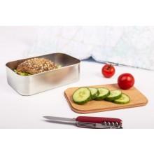Edelstahl Brotdose Premium Waldpicknick – Lunchbox mit Buchenholz-Deckel/Schneidebrett