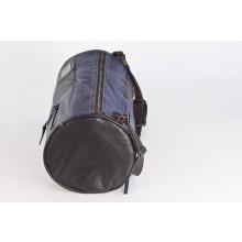 Große Upcycling Reisetasche | Weekender | Sporttasche | Ledertasche Braun/Blau