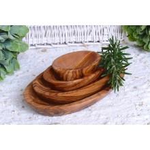 4er Set Olivenholz Schalen, oval, in 4 verschiedenen Längen