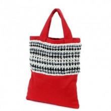Ganga | Einkaufstasche aus roter Wolle + Filz