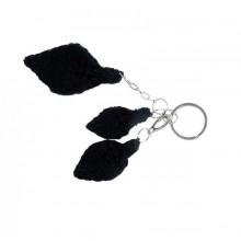 Feuille | Blatt | Schlüsselanhänger schwarze Wolle