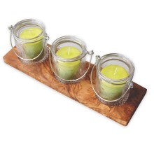 Kerzenhalter-Set MANICI mit Votivkerzen LEMON im Deko-Glas auf Olivenholz-Tablett