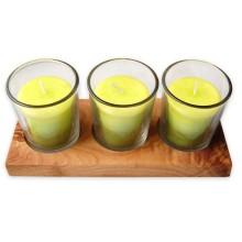 Kerzenhalter-Set VETRO LEMON Votivkerzen im Glas auf Olivenholz-Tablett