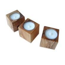 Teelichthalter CUBO aus Olivenholz im Set oder einzeln