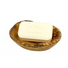 Rustikale Seifenschale aus Olivenholz mit Ablauflöchern & handgemachte Pflanzenseife aus Bormes les Mimosas, Milch