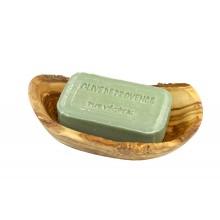 Rustikale Seifenschale aus Olivenholz mit Ablauflöchern & handgemachte Pflanzenseife aus Bormes les Mimosas, Olive