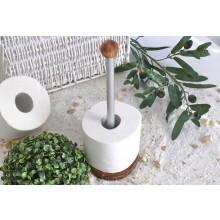 Toilettenrollen-Ständer Olivenholz & Aluminium