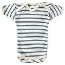 Lotties Kurzarm Body blau-weiß gestreift aus Bio-Baumwolle