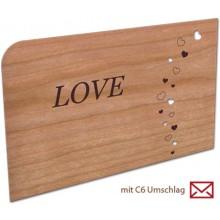 Grußkarte aus echtem Kirschbaumholz – LOVE