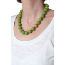 Halskette Grün mit Gold-Perle – Öko-Papier