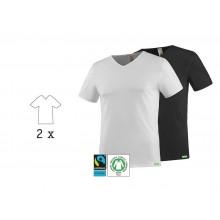SoulShirt T-Shirt mit V-Ausschnitt, Bio Baumwolle, 2er Pack, kleiderhelden