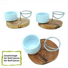 Eierbecher LA SPECIA Porzellan / Edelstahl auf rustikalem Olivenholzsockel