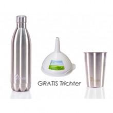 Trinkflasche, Becher Edelstahl+Trichter Bioplastik