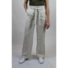 Leinenhose Streifen-Design Paperbag Hose