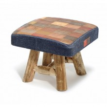 Hocker Saloon aus Upcycling Jeans Labels + Holz S
