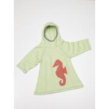 Frotteekleid Hellgrün mit Seepferdchen, Mädchen, Bio-Baumwolle